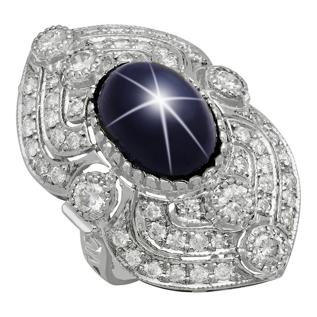 14k White Gold 13.91ct Star Sapphire 2.41ct Diamond