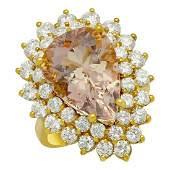 14k Yellow Gold 691ct Morganite 271ct Diamond Ring