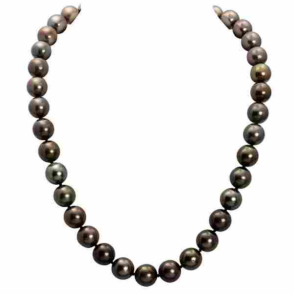 10 - 12mm Natural Black Pearl Necklace