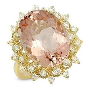 14K Yellow Gold 9.58ct Morganite and 0.74ct Diamond