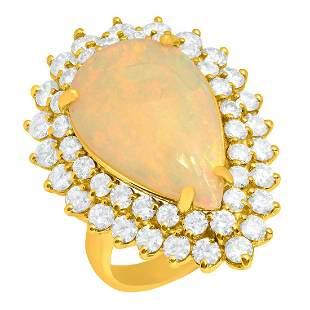 14k Yellow Gold 5.23ct White Opal 3.25ct Diamond Ring