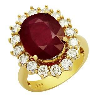 14k Yellow Gold 7.21ct Ruby 1.69ct Diamond Ring