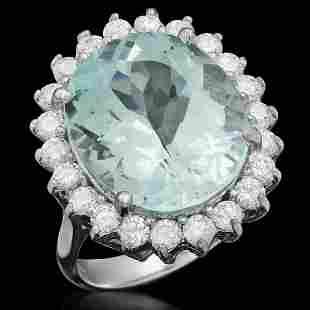 14K White Gold 9.32ct Aquamarine and 1.18ct Diamond