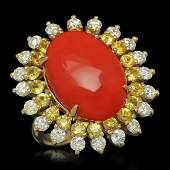 14K Yellow Gold 8.0ct Coral 1.79ct Sapphire and 1.47ct