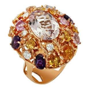 14k Rose Gold 7.50ct Morganite 5.78ct Sapphire 0.58ct