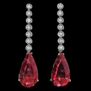 14k 21.32ct Tourmaline 0.55ct Diamond Earrings