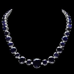 14K White Gold 164.72ct Sapphire and 1.74ct Diamond