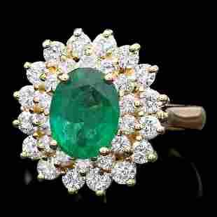 14K Yellow Gold 1.27ct Emerald and 1.18ct Diamond Ring