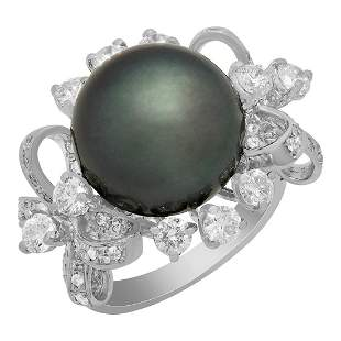 14k White Gold 14mm Pearl 2.26ct Diamond Ring
