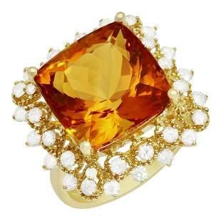 14k Yellow Gold 10.58ct Citrine 0.97ct Diamond Ring