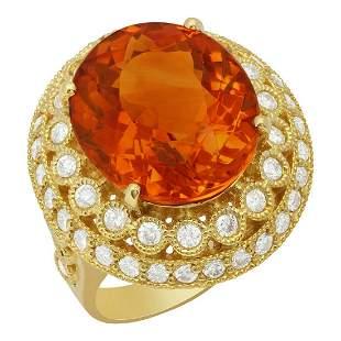 14k Yellow Gold 9.97ct Citrine 1.67ct Diamond Ring