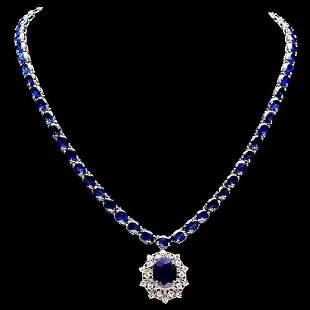 14K White Gold 57.69ct Sapphire and 1.08ct Diamond