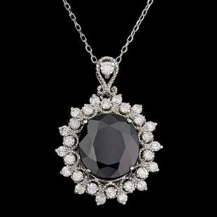 14K Gold 6.91ct Sapphire 0.88ct Diamond Pendant
