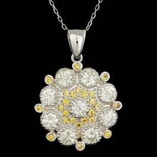 14K Gold 0.61ct Sapphire 2.68ct Diamond Pendant