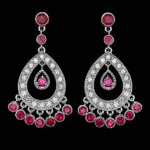 14K White Gold 2.87ct Ruby and 1.08ct Diamond Earrings