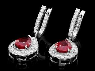 14K White Gold 6.36ct Ruby and 1.38ct Diamond Earrings