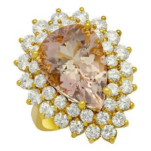 14k Yellow Gold 6.91ct Morganite 2.71ct Diamond Ring