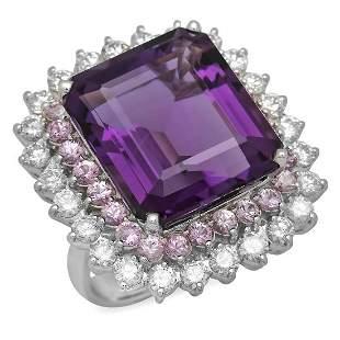 14K White Gold 20.26ct Amethyst 2.01ct Pink Sapphire