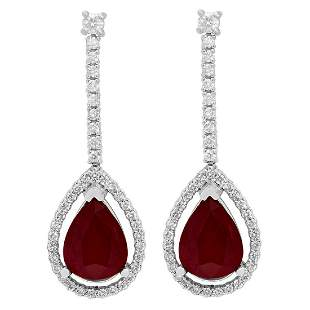 14k White Gold 6.41ct Ruby 0.89ct Diamond Earrings