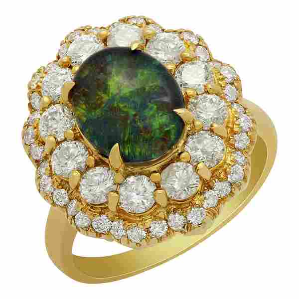 14k Yellow Gold 1.81ct Opal Doublet 1.69ct Diamond Ring