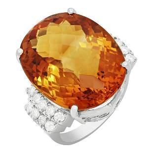 14k White Gold 26.97ct Citrine 0.81ct Diamond Ring
