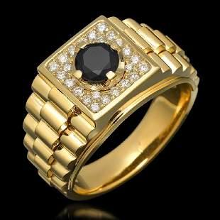 14K Yellow Gold 1.01ct Mens Diamond Ring