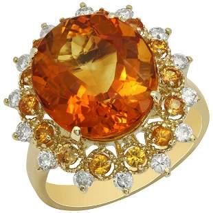 14k Yellow Gold 7.11ct Citrine 0.58ct Orange Sapphire