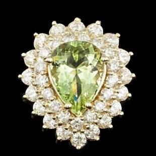 14K Yellow Gold 3.78ct Beryl and 2.23ct Diamond Ring