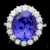 14K White Gold 9.39ct Tanzanite and 1.49ct Diamond Ring