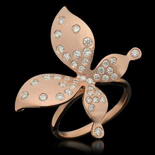 """14K Rose Gold 0.85ct Diamond Butterfly"""" Ring"""""""