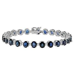 14k White Gold 19.38ct Sapphire 0.92ct Diamond Bracelet