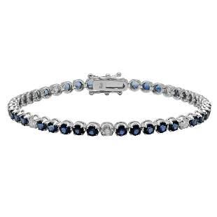 14k White Gold 5.85ct Sapphire 0.87ct Diamond Bracelet