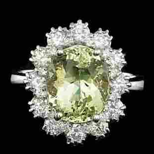 14K White Gold 4.08ct Beryl and 1.19ct Diamond Ring