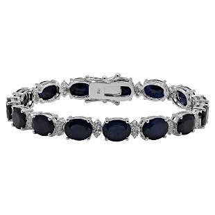 14k White Gold 28.16ct Sapphire 1.38ct Diamond Bracelet