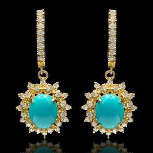 14k Yellow Gold 4.00ct Turquoise 1.50ct Diamond