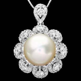 14K Gold 14mm South Sea Pearl and 3.16ct Diamond
