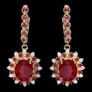 14K Gold 8.07ct Ruby and 0.70ct diamond Earrings