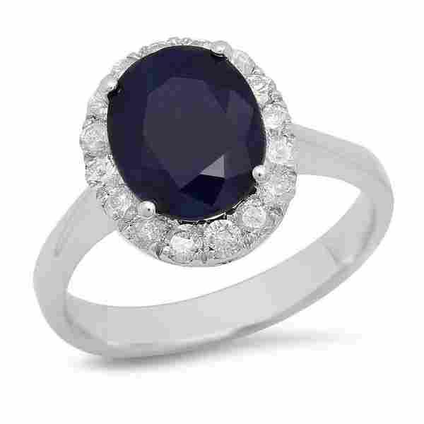 K White Gold 3.80ct Sapphire and 0.57ct Diamond Ring
