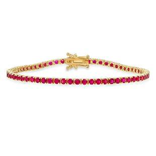 14K Yellow Gold with 4.82ct Ruby and 0.33ct Diamond