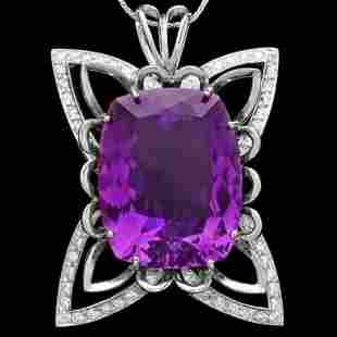 14K Gold 39.89ct Amethyst and 1.49ct Diamond Pendant