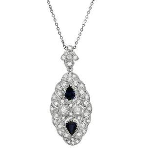 14k White Gold 2.56ct Sapphire 1.98ct Diamond Necklace
