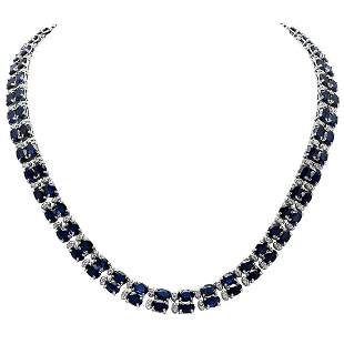 14k White Gold 52.31ct Sapphire 2.55ct Diamond Necklace
