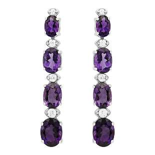 14k White Gold 6.38ct Amethyst 0.34ct Diamond Earrings