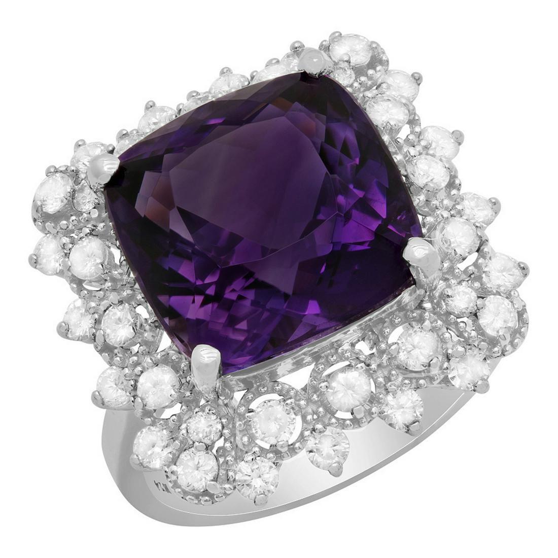 14k White Gold 7.68ct Amethyst 0.90ct Diamond Ring