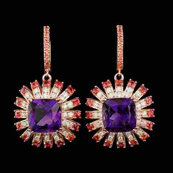 14K Rose Gold 18.76ct Amethyst 2.92ct Sapphire and