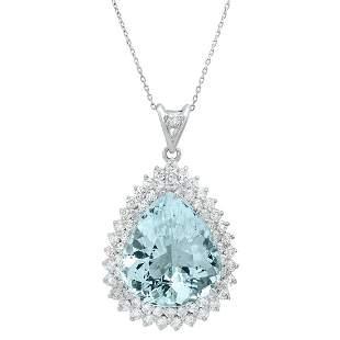 14K White Gold 17.38ct Aquamarine and 1.25ct Diamond