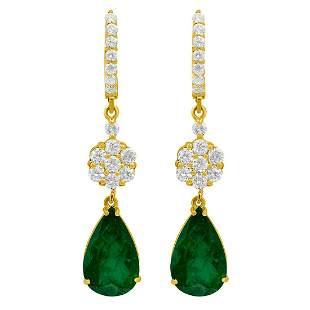 14k Yellow Gold 7.33ct Emerald 2.10ct Diamond Earrings