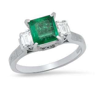 Ladies Platinum Ring with 0.97ct Emerald and 0.32ct