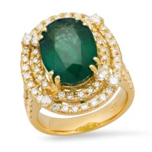14K Yellow Gold 8.46ct Emerald and 2.58ct Diamond Ring