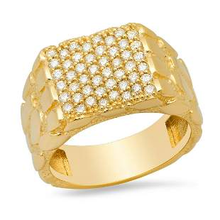 14K Yellow Gold and 0.83ct Diamond Mens Ring